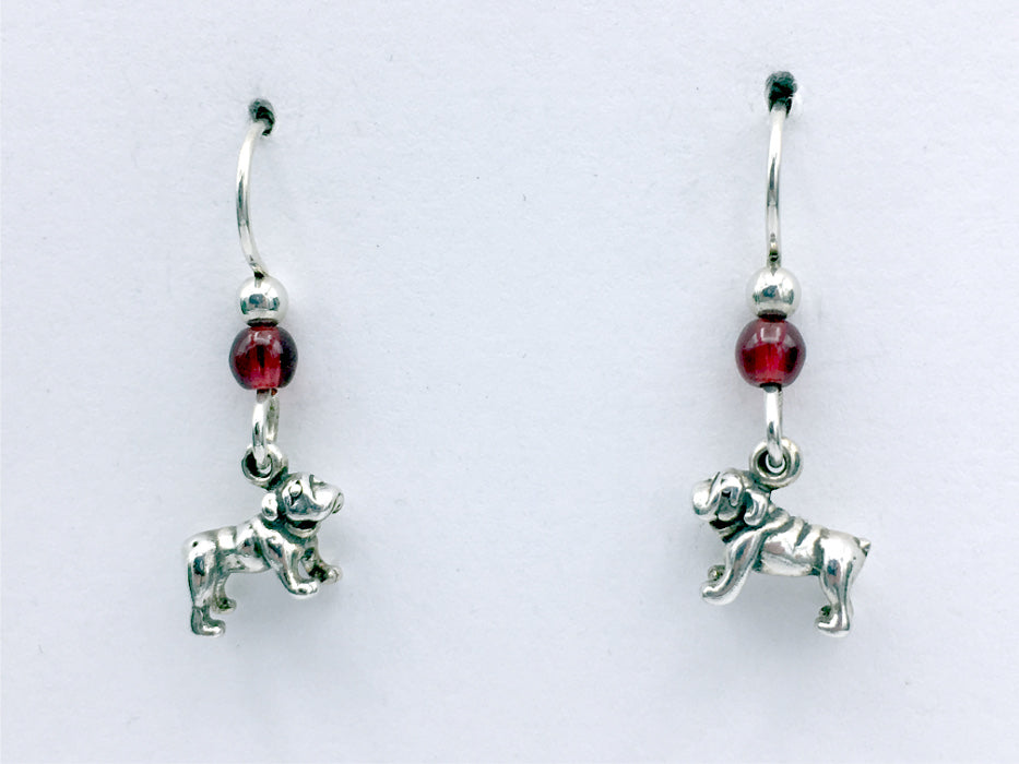 Sterling silver tiny Bull Dog dangle Earrings- bulldog, dogs, glass, English
