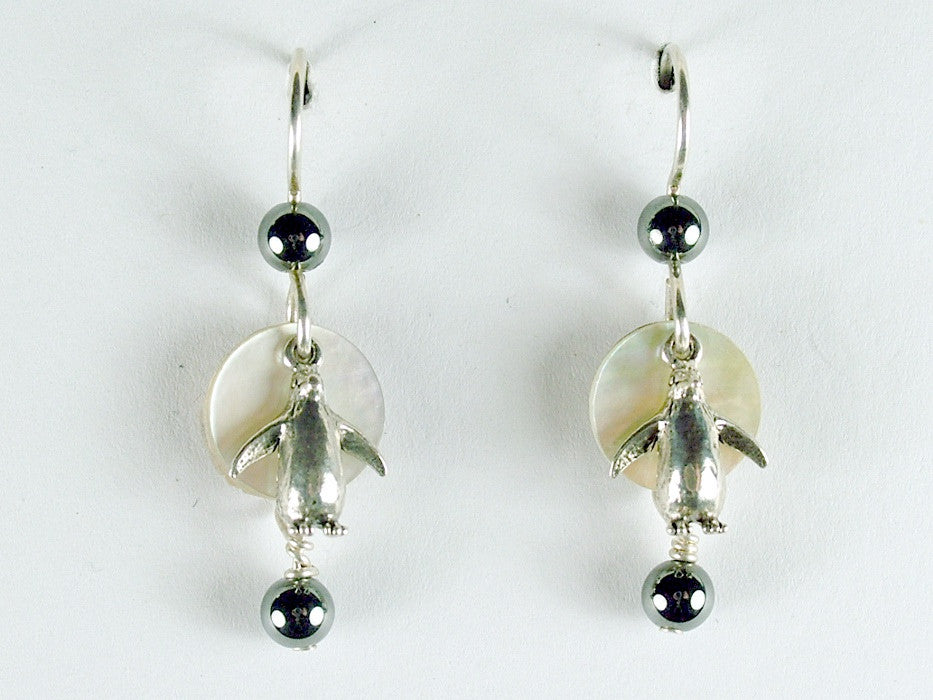 Sterling silver penguin dangle earrings-bird-hematite,shell-penguins, aquatic