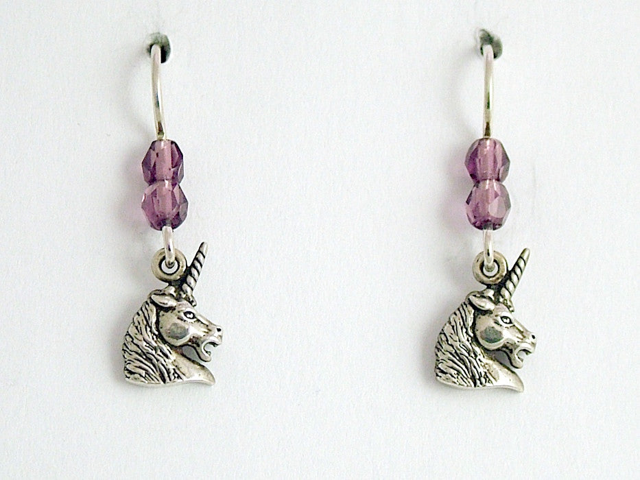 Sterling silver small Unicorn head dangle earrings-unicorns, Fantasy,spiral horn