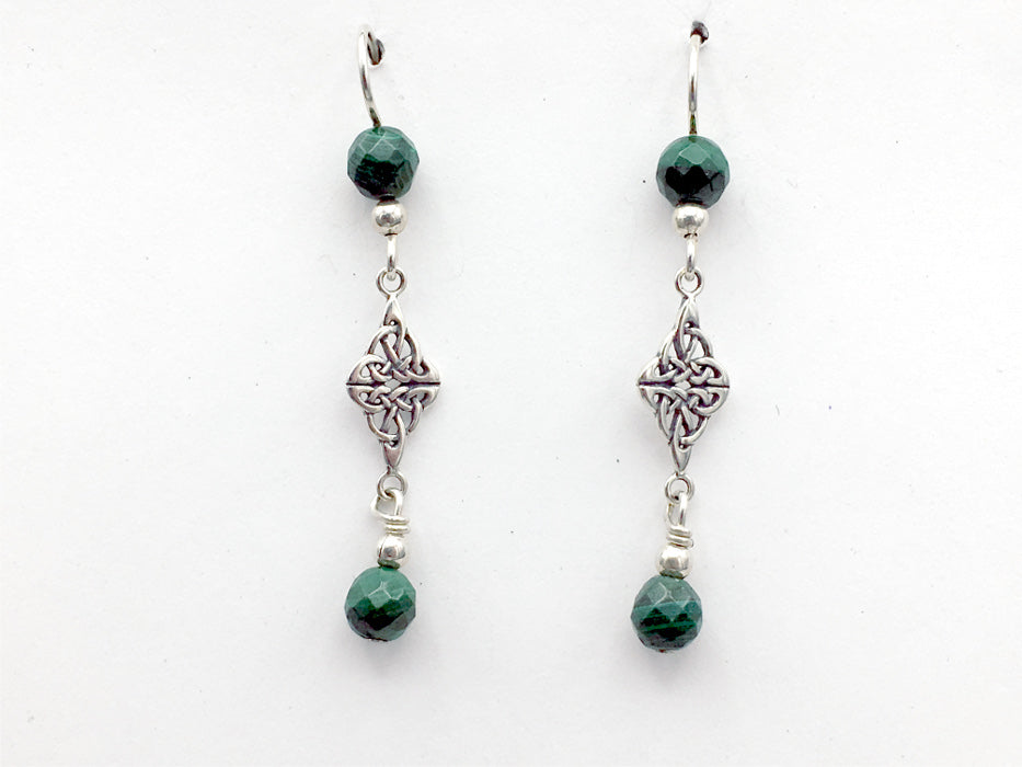Sterling Silver Double Celtic Knot Dangle Earrings- faceted Malachite, gorgeous