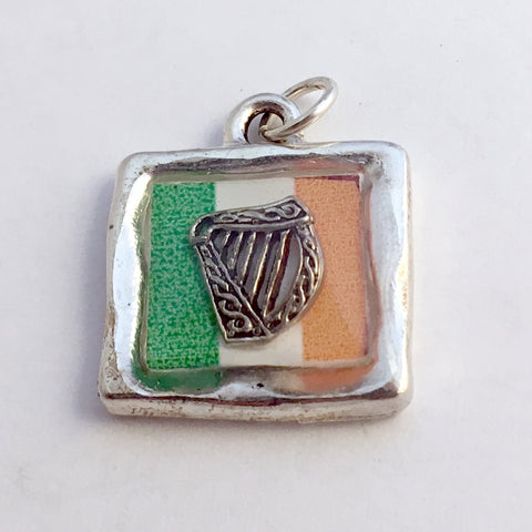 Pewter pendant with print of Irish Flag and sterling silver Celtic harp -resin, Ireland