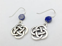 Pewter & Sterling Silver large Round Celtic Knot dangle Earrings- Lapis Lazuli