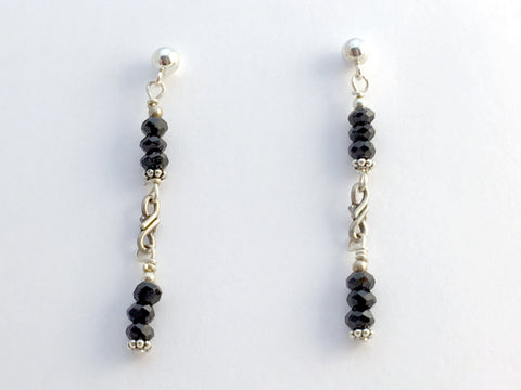 Sterling Silver 4mm ball stud w/ faceted black tourmaline dangle Earrings, twist