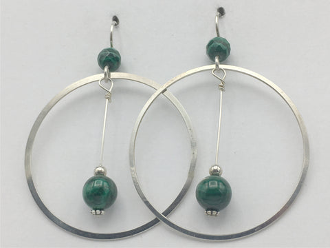 Sterling Silver large Circle drop Earrings-Malachite, gorgeous, green, 2 1/4""