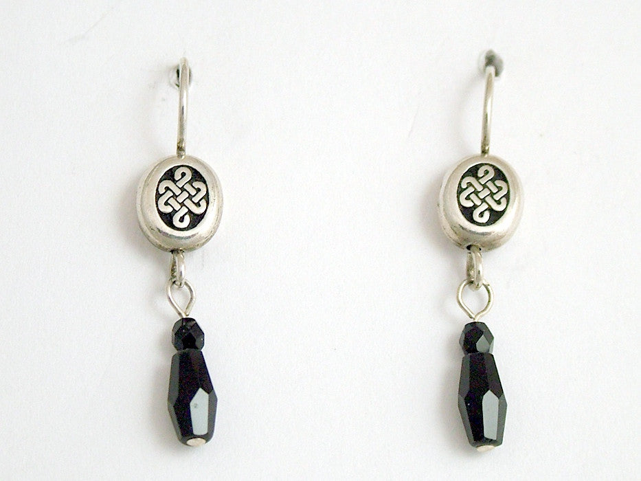 Pewter & Sterling Silver oval Celtic  knot dangle Earrings-black crystal, knots