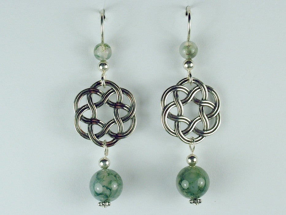 Sterling Silver Large Round Celtic Knot dangle earrings- Moss Agate, elegant