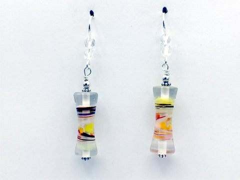 Clear glass with orange,  green & white swirl tube bead dangle earrings-sterling silver