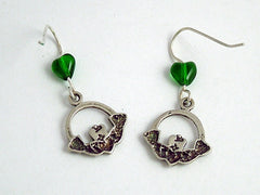 Sterling Silver medium  Claddagh Earrings-Celtic -Irish- Ireland- Eire- green