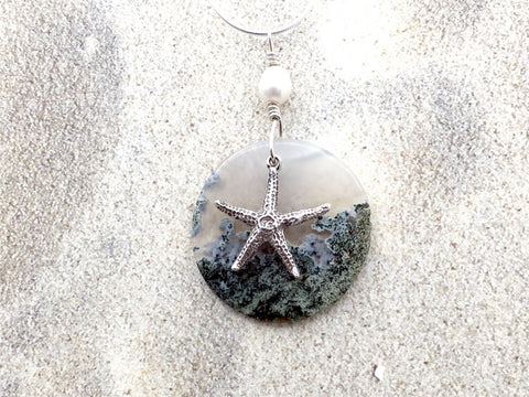 20 inch Sterling Silver snake chain with Moss Agate, Freshwater Pearl, and Sterling Silver Starfish pendant , beach comber