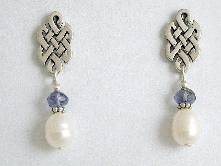 Sterling Silver & surgical steel Celtic knot stud Earrings-Iolite, fw pearls