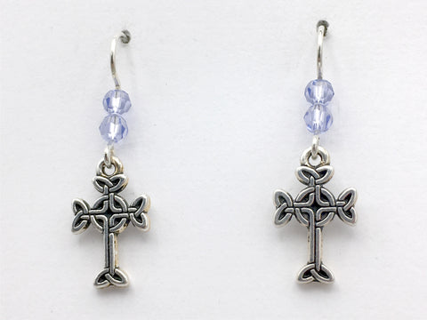 Pewter & Sterling silver Celtic knot cross dangle earrings- lavender crystal