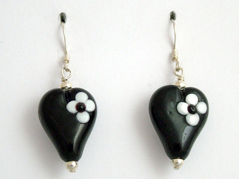 Black w/ white flower lampwork glass heart dangle earrings-sterling silver, love