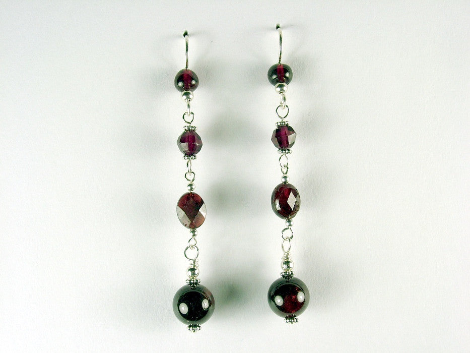 Sterling silver and Garnet beads dangle earrings- Elegant, 2 3/4 inches, garnets