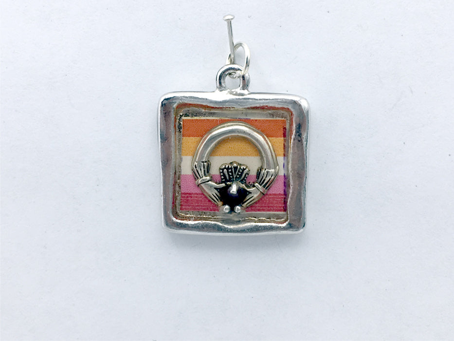 Pewter w/ Sterling Silver Claddagh & lesbian pride flag pendant-resin,love,LGBTQ