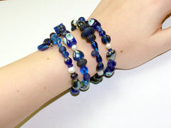 4 Strand Glass lampwork bead, crystal bead, freshwater Pearl Memory Wire Bracelet, Blues