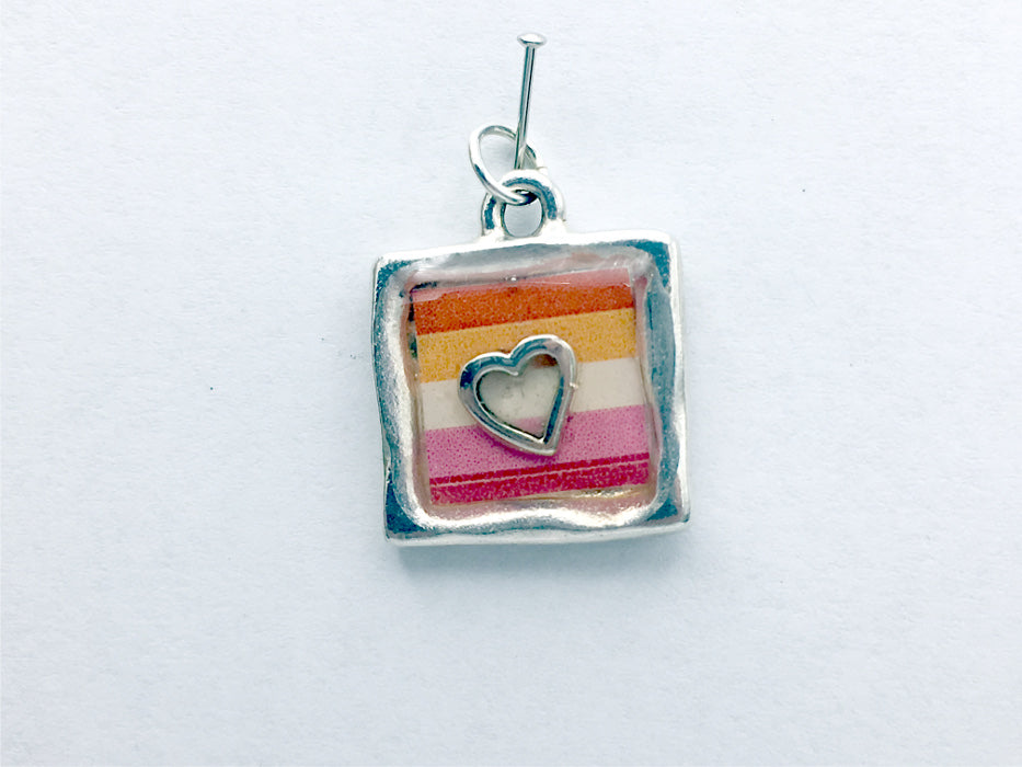 Pewter with Lesbian pride flag & sterling silver Heart pendant-resin, LGBTQ