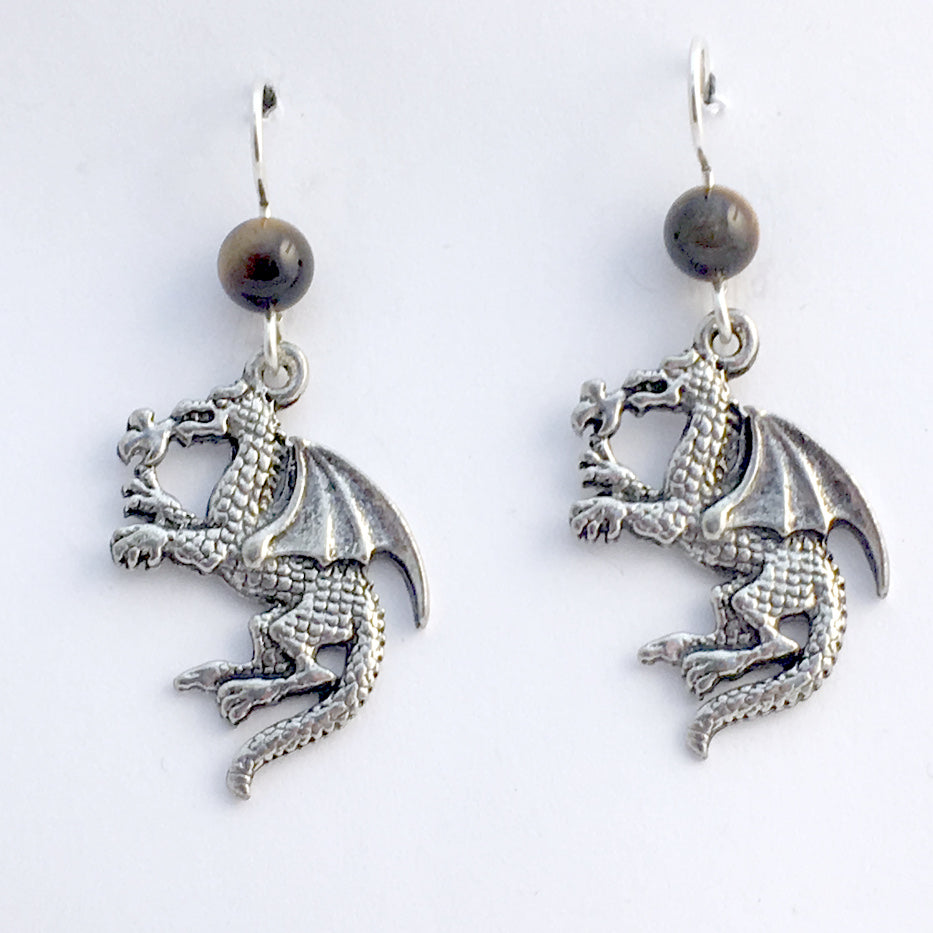 Pewter & sterling silver fire breathing dragon dangle earrings-dragons-tiger eye