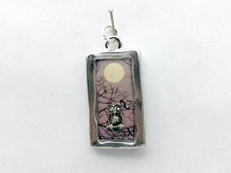 Pewter frame, sterling silver owl with full moon pendant-resin, owls, bird, birds