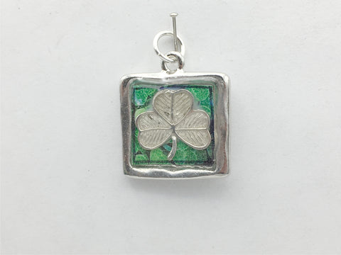 Pewter frame, sterling silver shamrock pendant-resin, st patrick, Shamrocks, Irish