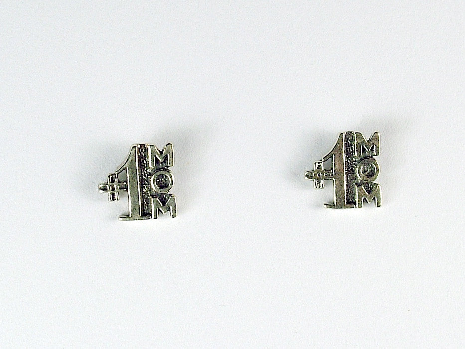 Sterling Silver & Surgical Steel #1 Mom stud earrings- Mother's Day, Mother, One