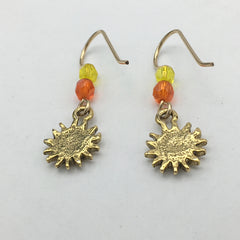 Gold Tone Pewter & 14k GF small Sun with face dangle earrings-sweet, celestial