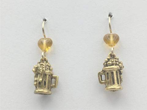 Goldtone Pewter & 14k GF wire Beer Stein earrings-Brewery, Mug, Drinks, Brewpub