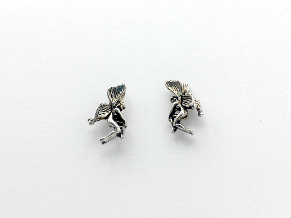 Sterling Silver & Surgical Steel tiny sitting fairy stud earrings-fantasy-fairie