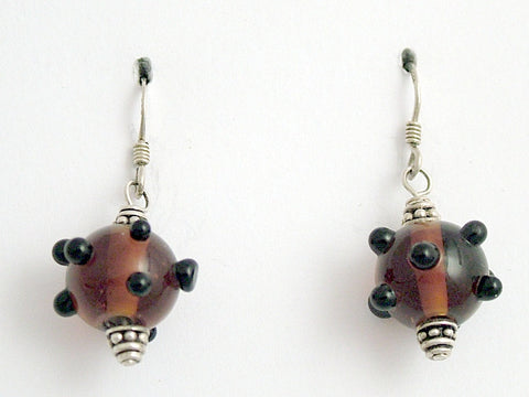 Brown and black bumpy lampwork glass dangle earrings-sterling silver, sputnik