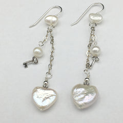 Sterling Silver and Freshwater Pearl heart dangle earrings-love, key to my heart, hearts