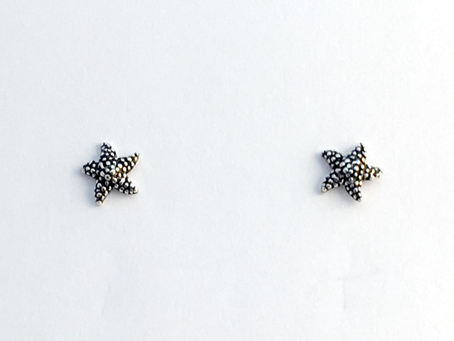 Sterling silver small starfish stud  earrings-star, fish, ocean, tidepool