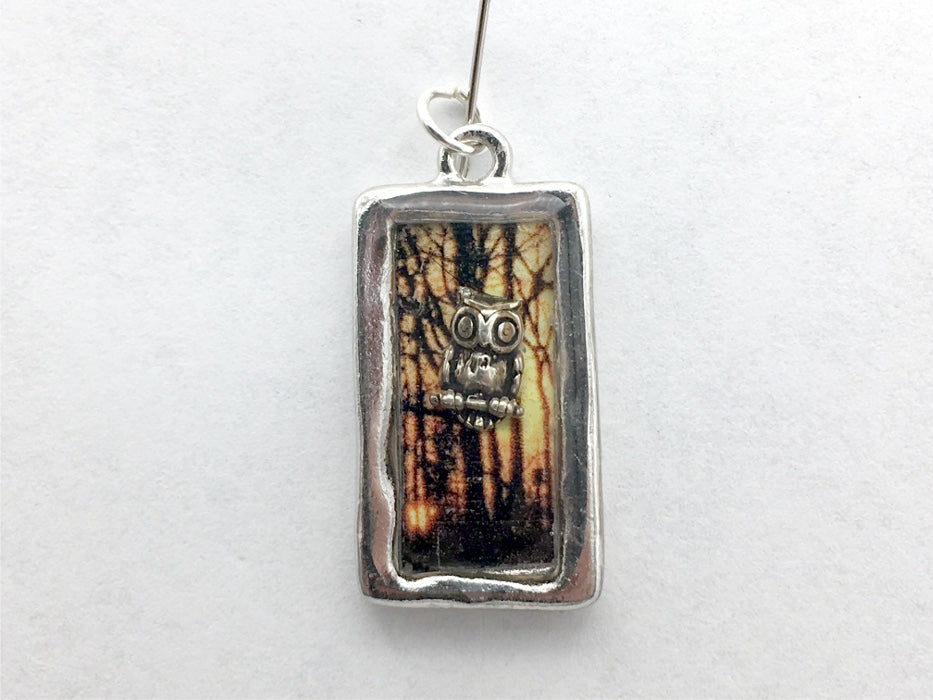 Pewter frame, sterling silver owl with sunset trees pendant-resin,owls,bird,bird