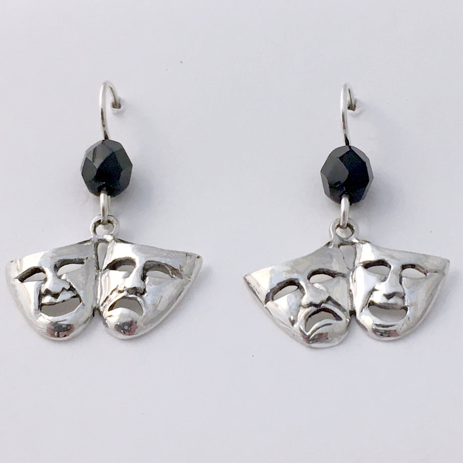 Sterling silver large Comedy & Tragedy mask dangle Earrings-Drama, theater, actor