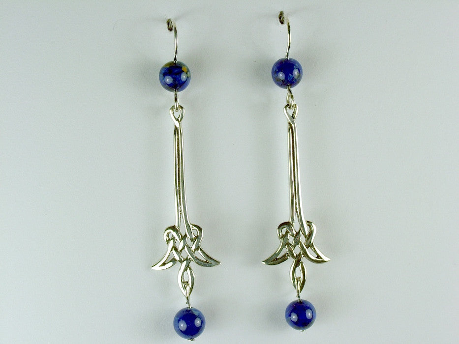 Sterling Silver Long drop angular Celtic Knot Earrings- Lapis Lazuli, gorgeous