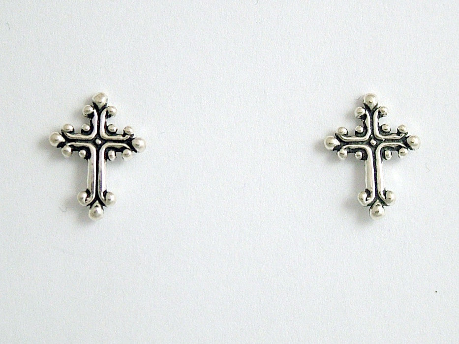 Sterling Silver & Surgical Steel Fancy Cross stud earrings- Religion, crosses