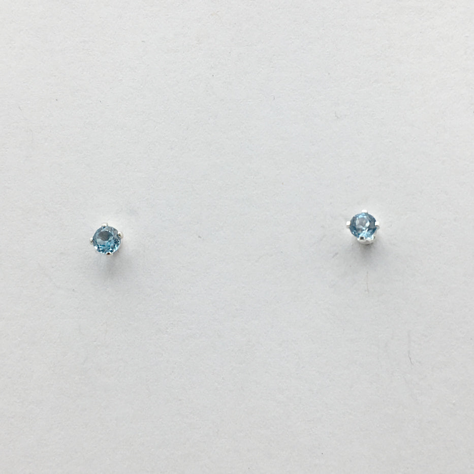 Sterling silver tiny 3mm London Blue Topaz stud earrings-studs, faceted,