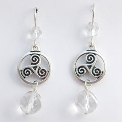 Pewter & Sterling Silver Triskelion in circle Celtic dangle Earrings-clear glass