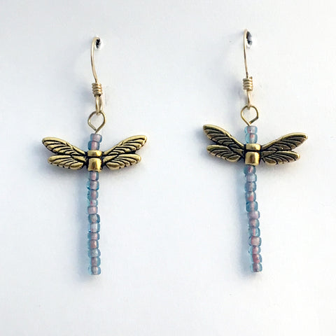 Gold tone Pewter & glass Dragonfly dangle earring-14kgf -dragonflies-long pink, blue