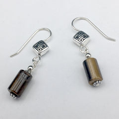 Pewter & Sterling Silver rhombus Celtic  knot dangle Earrings-tiger eye, knots