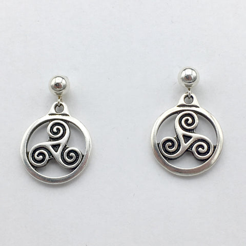 5mm Sterling Silver ball stud with Pewter Triskelion dangle Earrings - Celtic