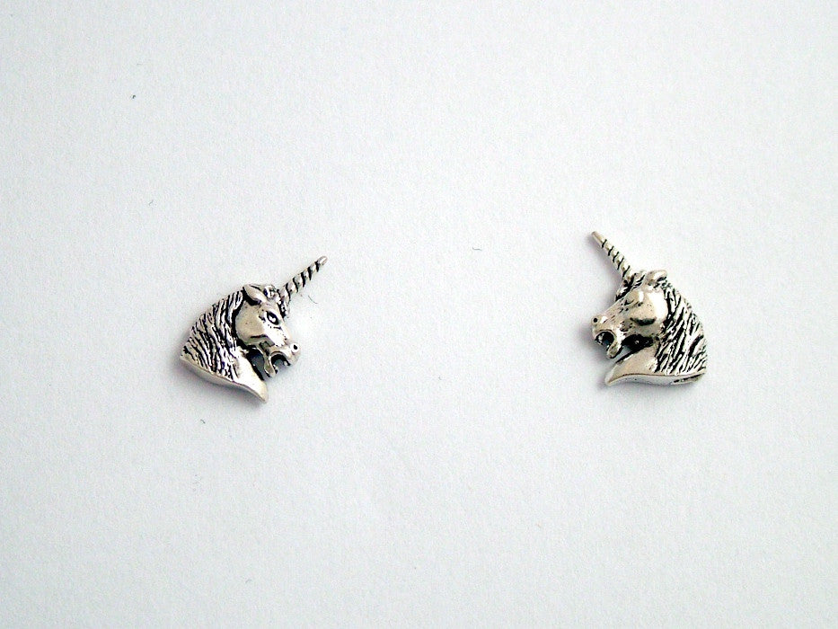 Sterling Silver & Surgical Steel unicorn head stud earrings- fantasy- unicorns