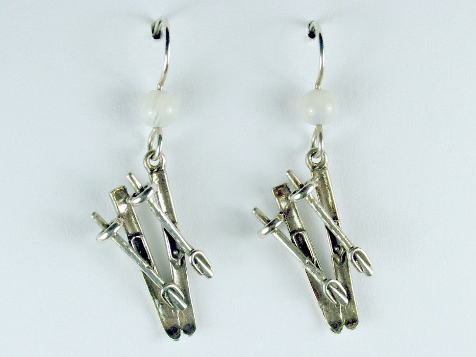 Sterling Silver Ski with pole dangle earrings-skiing-snow, downhill,winter, skis