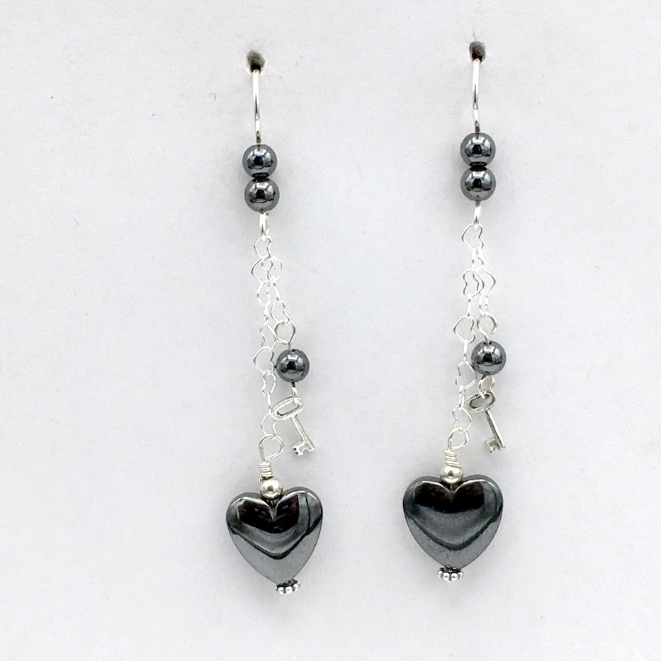 Sterling Silver and Hematite heart dangle earrings-love, key to my heart, hearts