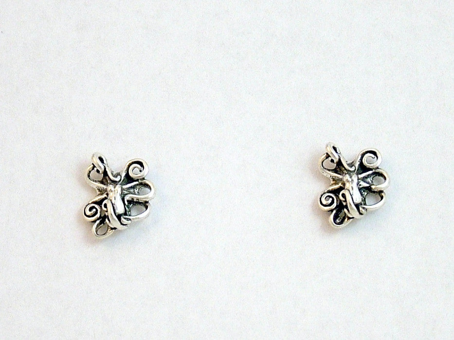 Sterling Silver & Surgical Steel octopus stud earrings-ocean, octopi, octopuses