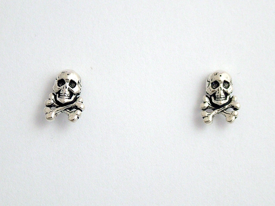 Sterling Silver & Surgical Steel skull and crossbone stud earrings- pirate, outlaw