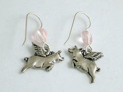 Pewter & Sterling silver Flying Pig dangle earrings-when pigs fly, swine, w/wing