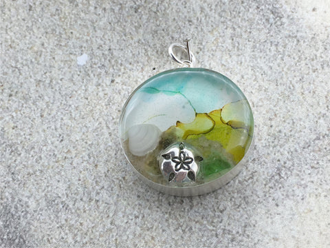 Sterling silver 25mm Round Pendant with Shells, Sand, Sea glass,  Sand Dollar, Surf City New Jersey Division Avenue Beach, tide pool, alcohol ink art, beach comber
