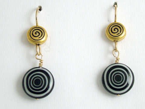 Gold tone Pewter & 14kgf spiral dangle earrings- black and white glass , spirals