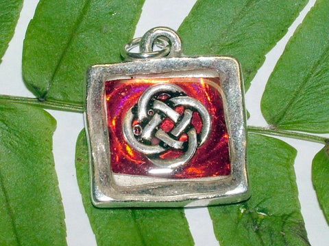 Pewter Frame with Celtic Round knot and red foil paper pendant-resin, Knots,