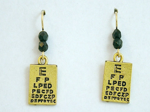 Goldtone Pewter & 14k GF Eye Chart Earrings-Doctor, Dr. Optometrist, Optician