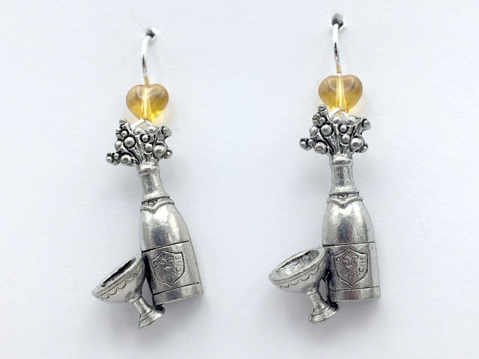 Pewter & sterling silver Champagne bottle & glass earrings- drinks, Bubbly,